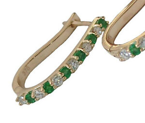 E034-Genuine-Solid-9K-18K-GOLD-NATURAL-Emerald-amp-0-25ct-Diamond-HUGGIES-Earrings