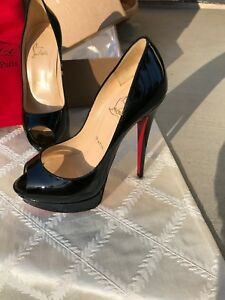 huge discount 55d34 7a064 Details about Christian Louboutin Lady Peep 150 Patent Calf - NEW