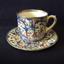 Porcelaine dure de Paris tasse sous-tasse polychrome fleurs feuillages XVIII XIX