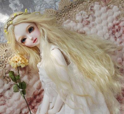 "8-9/"" 1//3 BJD White Curly Wavy Long Wig LUTS Doll SD DZ DOD MSD Hair #L"