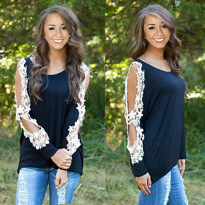Womens Crew Neck Long Sleeve Shirt Casual Lace Blouse Loose Cotton Tops T Shirt