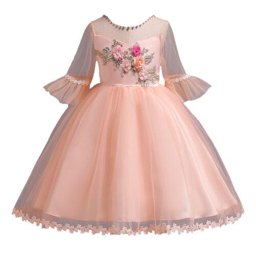 Girls Princess Dress Kids Party Wedding Pageant Half Sleeve Tutu Flower Dress
