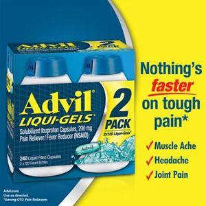 Advil-Liqui-Gels-200-mg-240-Liquid-Capsules-Brand-New-Sealed-Exp-2-2020