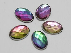 200 Acrylic Flatback Faceted Oval Rhinestone Gems 10X14mm NoHole Pick Your Color