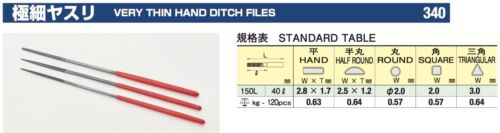 TSUBOSAN Very Thin Hand Ditch Files 150mm 340 made in  japan