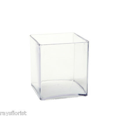 10cm Clear Acrylic Cube Vase Small Lightweight Durable Plastic Design Container