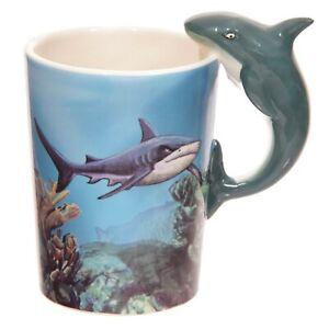 Mug Shark Shaped Animal Handle Novelty Tea Coffee Cup Sea Life Tropical Gift Box