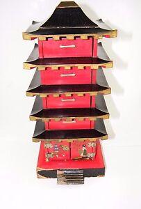 VINTAGE JAPANESE PAGODA MUSICAL JEWELRY BOX JAPAN 5 DRAWER eBay