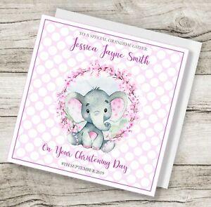 boy baby pink blue girl Personalised Elephant Christening card
