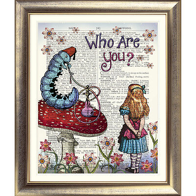 ART PRINT ORIGINAL ANTIQUE BOOK PAGE DICTIONARY Alice in Wonderland Quote Wall