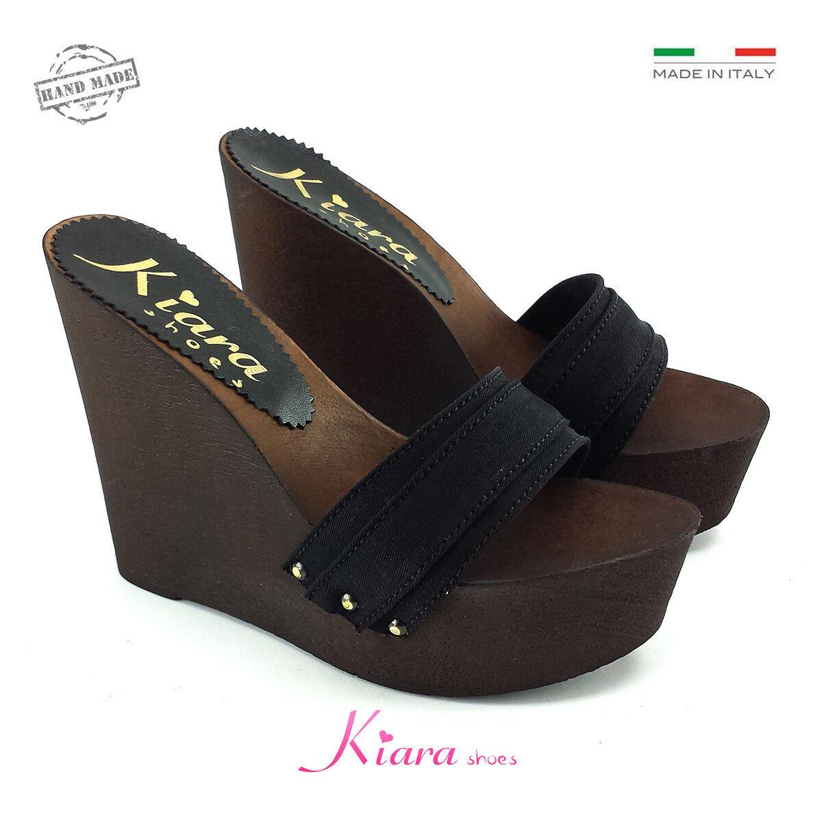 Zeppe Zatteroni Zoccoli Neri - Schuhe Made in  N. da 35 a 41 - Tacco 13