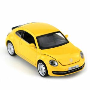 Beetle-Massstab-1-32-Metall-Die-Cast-Modellauto-Spielzeug-Auto-Pull-Back-Gelb