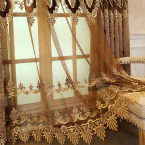 Details about European Macrame Curtains Lace Brown Sheer Tulle for Villa  Luxury Drape 1 Piece