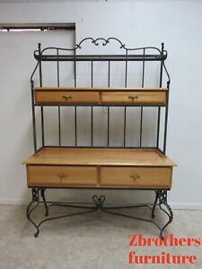 Custom Wrought Iron English Pine Sideboard Bakers Rack Buffett Hutch Display