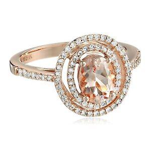 Natural Morganite & 1/3 ct Diamond Double Halo Ring in 10K Rose Gold