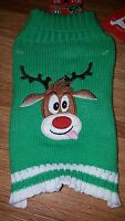 Pet Central Holiday Dog Sweater Green Reindeer Size Xs
