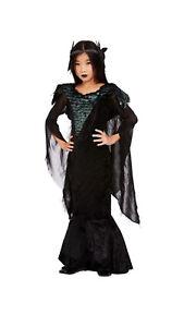 Kinder Raben-Prinzessin Mädchen Kostüm Kleid Umhang Feder-Kopfschmuck Halloween