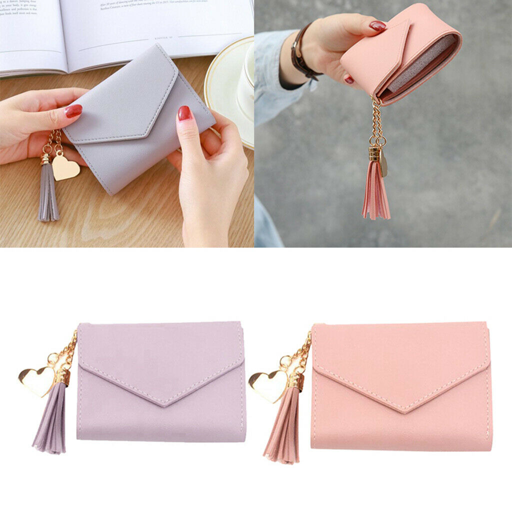 2pcs Simple Compact Leather Wallet Cash Credit Card Holder Clutch Card Bag