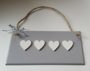 Peachy Details About Grey Hanging Wooden Wall Plaque Shabby Chic With Four White Hearts Home Interior And Landscaping Ponolsignezvosmurscom