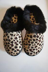 Charter-Club-Slippers-Sz-S-5-6-Black-Brown-Leopard-Print-Indoor-Outdoor-Sole