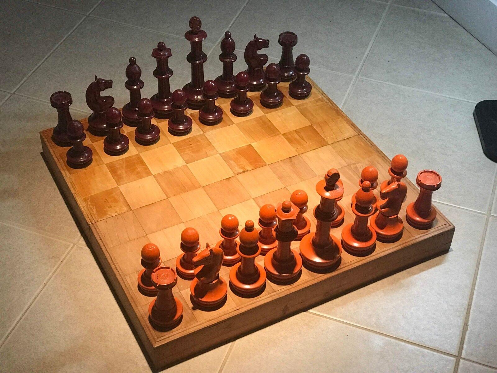 Vintage Handmade Elegant Wood Chess Set 20  Board 3.5 -7  Pieces