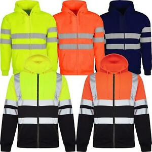 Hi-Viz-Vis-Visibility-Jacket-Zipped-Hoodie-Work-Hooded-Fleece-Lined-Sweatshirt