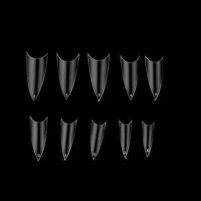 Hot 500Pcs Transparent Stiletto Point French Acrylic UV Gel False Nail Tips FUS