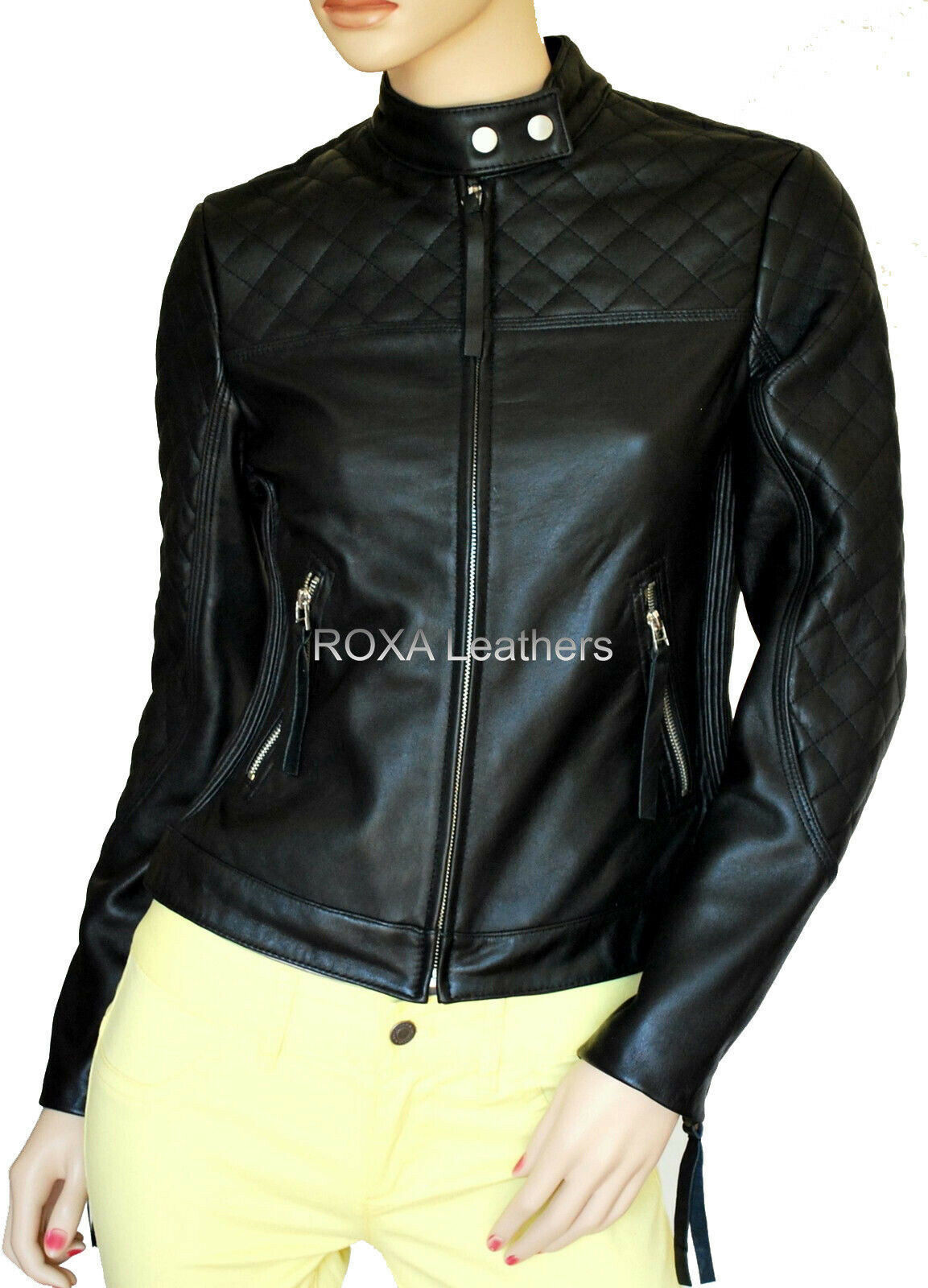 ROXA Women Quilted Genuine NAPA 100% Leather Jacket Black Party Wear Casual Coat