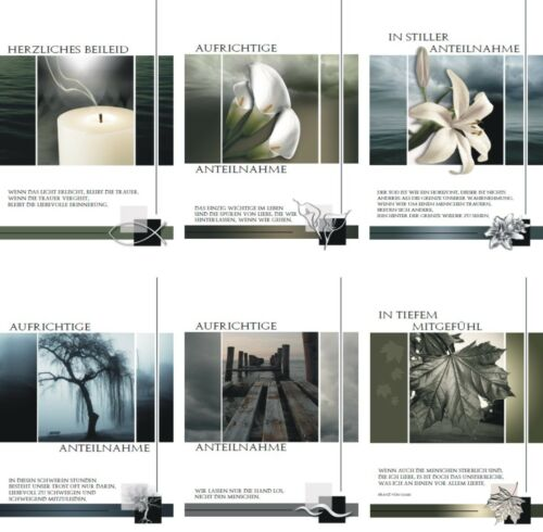 100 Trauerkarten mit Umschlag 81-1800 Beileidskarte Trauerkarte Beerdigung