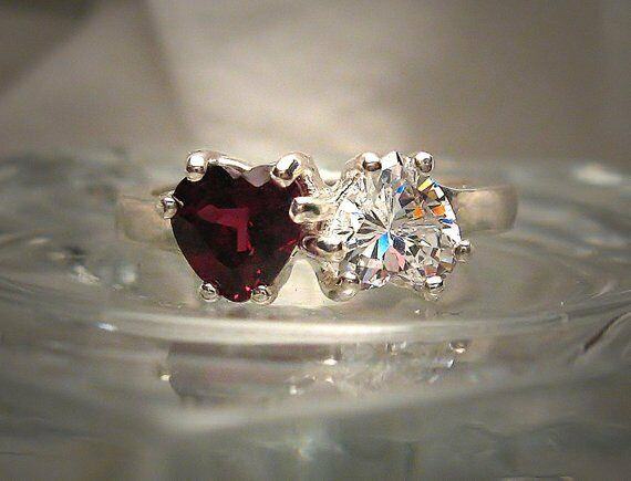 2ct Hearts Red Garnet Diamond Solitaire Engagement Ring 14k White gold Finish