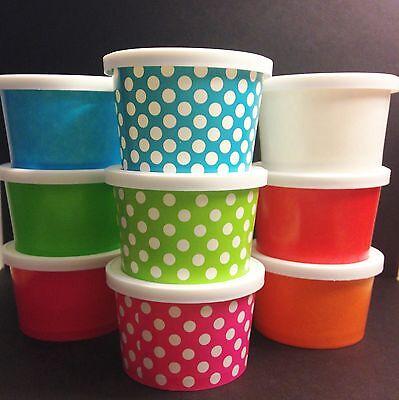 25 - Small 4oz. paper Ice Cream Cups WITH LIDS  Ice cream, desserts, treats