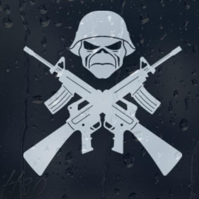 Army Soldier Cross Guns Military Skull Warrior Car Decal Vinyl Sticker
