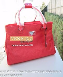 BNWT-RRP-219-GUESS-FENNER-Travel-Tote-Lugguage-Bag-Red-Fabric