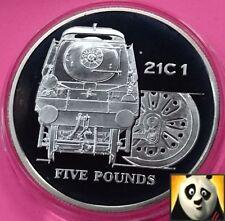 2004 ALDERNEY £5 Five Pound Locomotive 21C 1 Class Steam Age Silver Proof Coin