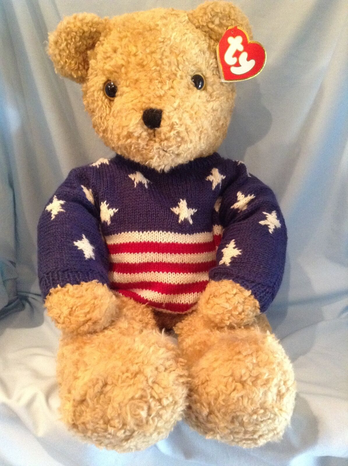 Ty Lg. Curly gold Bear Stars and Stripes Sweater 9019 P.E. Pellets 1991  42.00