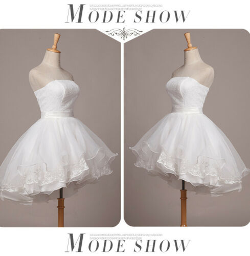 Short Lace Mini Wedding Dresses Cute High Low Bride Puffy Strapless Bridal Gowns