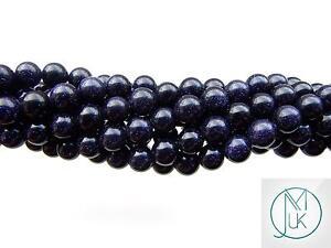Blue-Goldstone-Gemstone-Round-Beads-8mm-Jewellery-Making-47-50-Beads