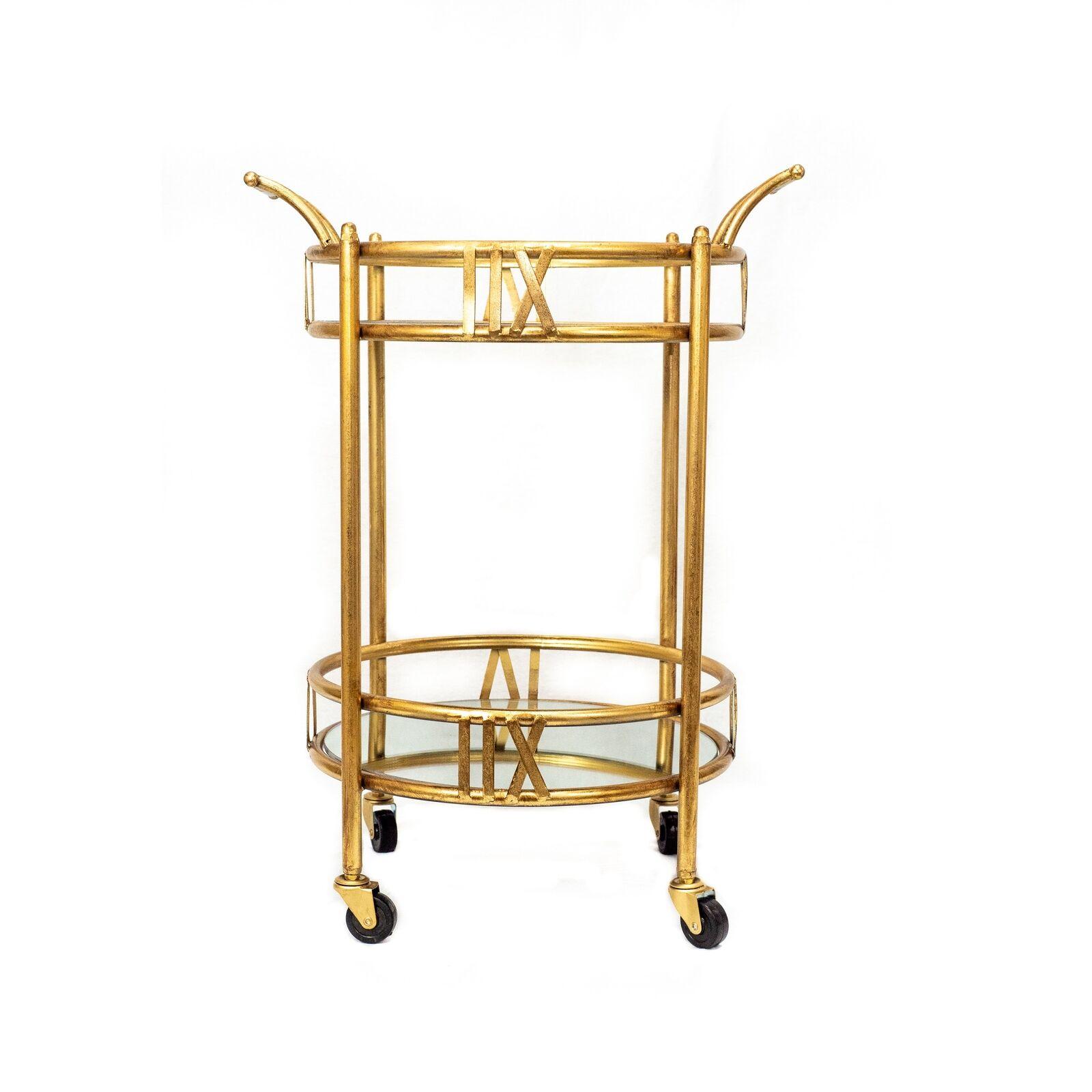 Rolling Gold Mobile Utility Mini Bar Cart Beverage Serving 2 Tier Glass Shelves For Sale Online Ebay