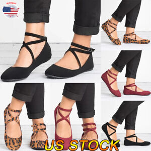 Women-Ankle-Strap-Buckle-Sandals-Ladies-Flat-Heel-Summer-Casual-Party-Work-Shoes