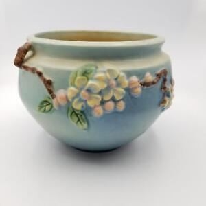 Roseville-Flower-Art-Pottery-Aqua-Blue-Apple-Blossom-Pattern-Planter-Vase-300-4