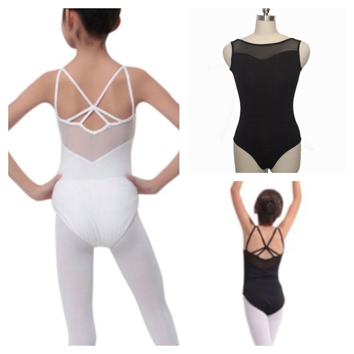 Black Leotard.UK White Cross Ballet Dance Bodysuit 6-15 Y Gymnastic Dance wear
