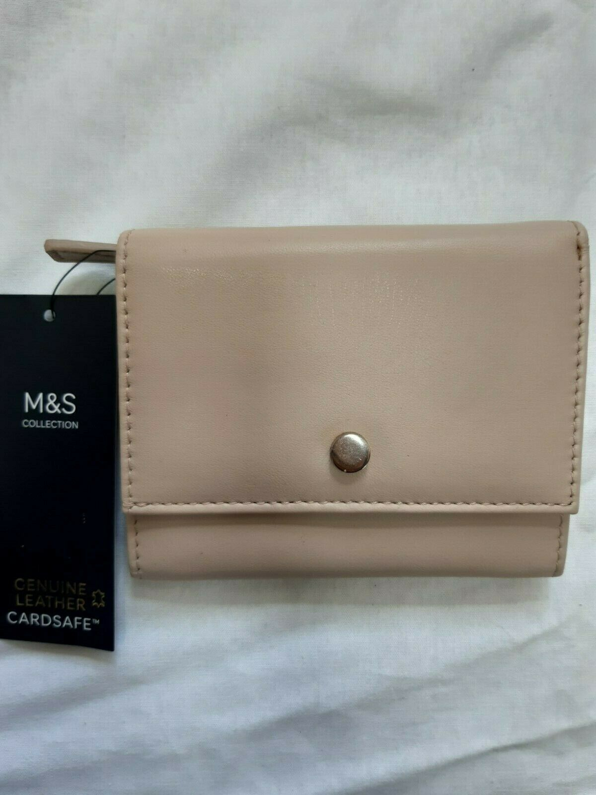 Marks And Spencer Ladies Leather Purse Card Holder Zip Coin Holder Card Safe Nud