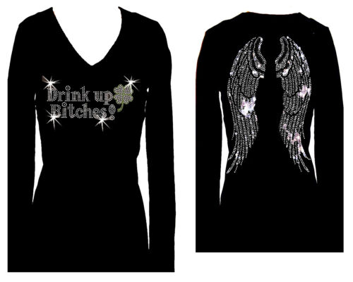 DRINK UP BITCHES WINGS RHINESTONE ST PATRICKS DAY V NECK LONG SLEEVE TEE SHIRT