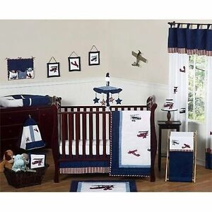 Red White And Blue Vintage Aviator Airplane Baby Bedding 11pc Crib Set