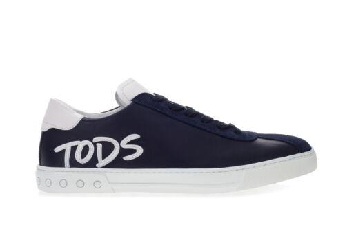 TOD/'S Herren Sneakers Schuhe Aus Blau Leder Und Wildleder Mit Weiß Logodetail