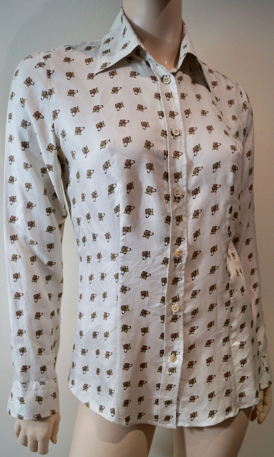 ETRO Womens Cream 100% Silk Beagle Dog Print Collared Blouse Shirt Top IT44 UK12