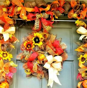 Autumn-Fall-Wreath-amp-Garland-Deco-Mesh-Thanksgiving-Holiday-Door-Decor