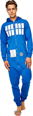 Dr Doctor Who TARDIS Design Adult Fleece Lined Hooded Jumpsuit One Piece Hood