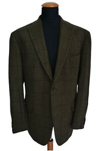TOYNER-Tailormade-Sakko-Gr-58-Wolle-Jacket-Braun-Kariert-Elbow-Patches-GC4