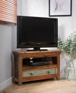 info for be3b4 1715a Details about RECLAIMED SOLID WOOD SMALL CORNER TV UNIT - INDIAN RECYCLED  FURNITURE NEW